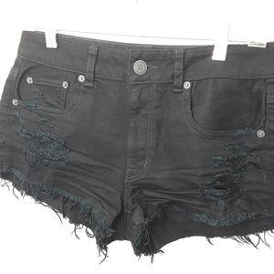 Stretch Distressed Black Denim Jeans Shorts